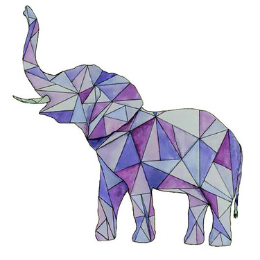 Purple Geometric Elephant Tattoo