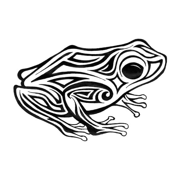 Simple Tribal Frog Tattoo Design