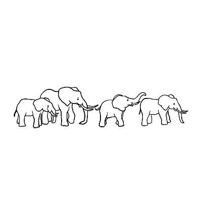 Simple Elephant Family Tattoo Design