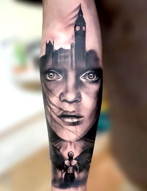 Black and Gray Portrait Tattoo Idea