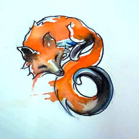 Sleepy Fox Tattoo Design