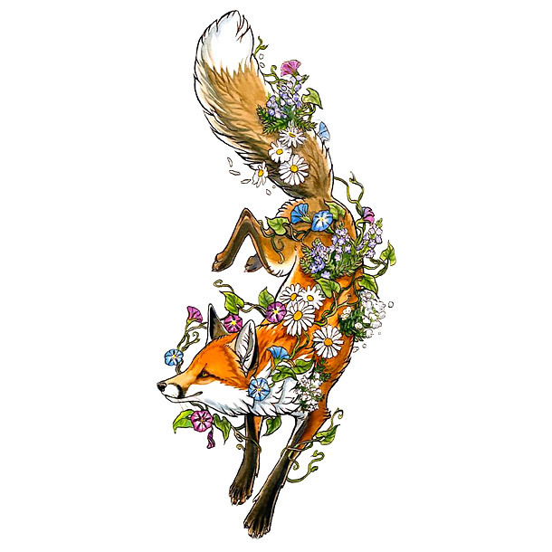 Spring Fox Flowers Tattoo Design