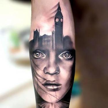 Black and Gray Portrait Tattoo
