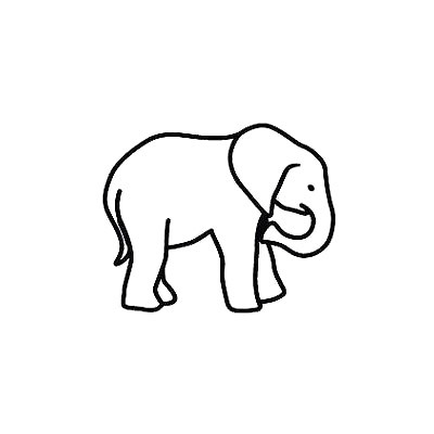 Tiny Elephant Outline Tattoo Design