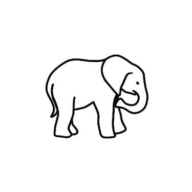 Tiny Elephant Outline Tattoo