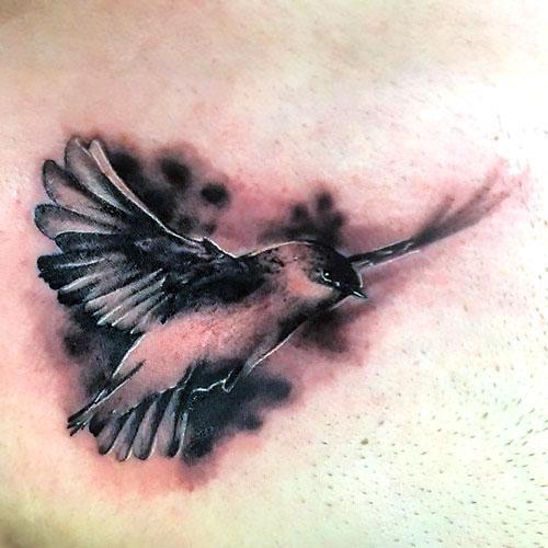 Black and Gray Swallow Tattoo Idea