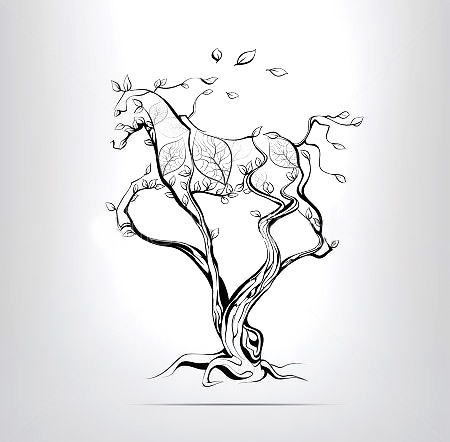 Tree Horse Silhouette Tattoo Design