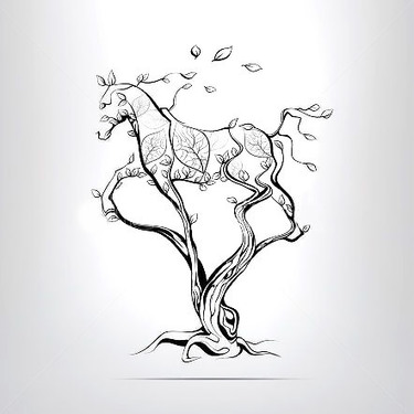 Tree Horse Silhouette Tattoo