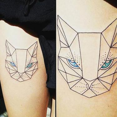Beautiful Geometric Cat Tattoo