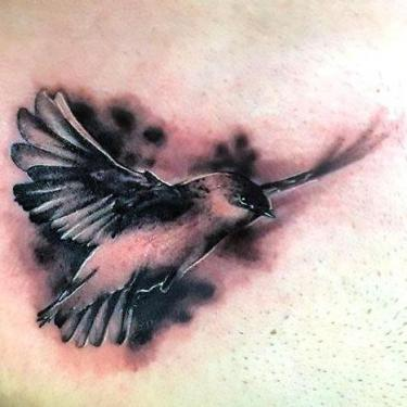 Black and Gray Swallow Tattoo