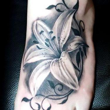 Black and Gray Water Lily Tattoo