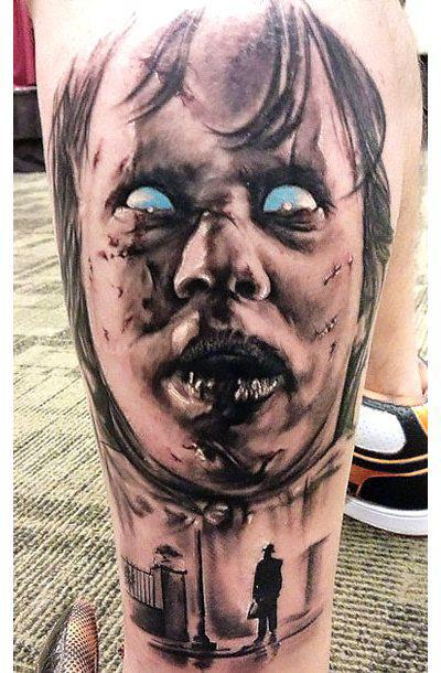 Black and Gray Horror Face Tattoo Idea