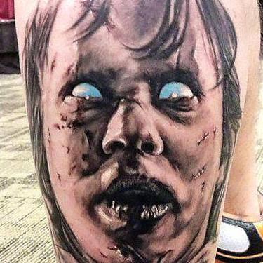 Black and Gray Horror Face Tattoo