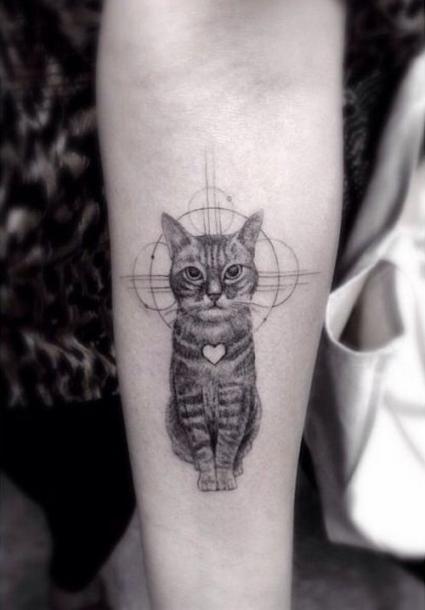 Fine Line Cat Tattoo Idea