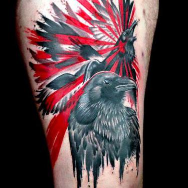 Black and Red Ravens Tattoo