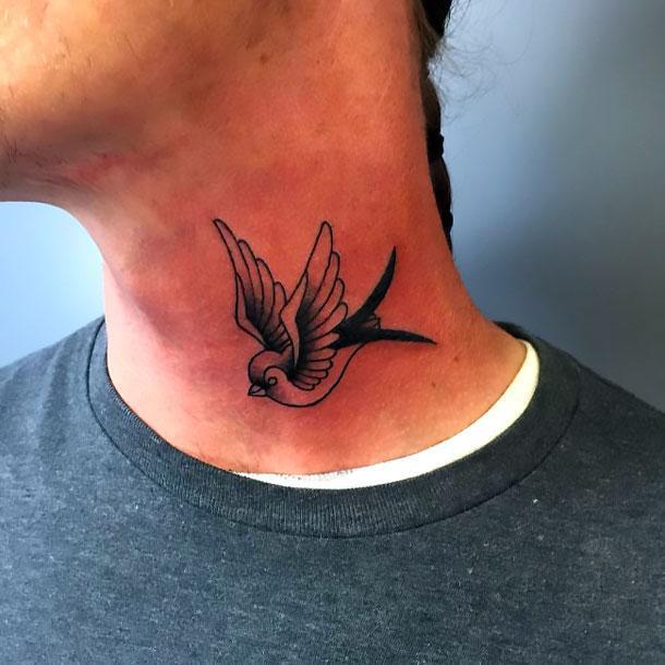 Black and White Swallow on Neck Tattoo Idea