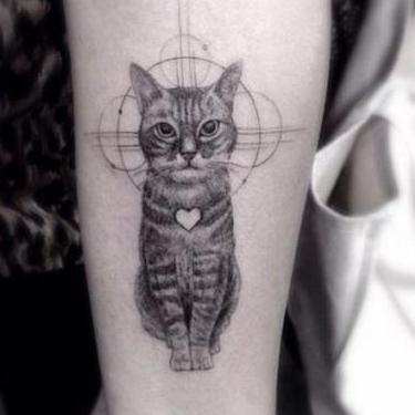 Fine Line Cat Tattoo
