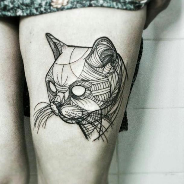 Best Geometric Cat Tattoo Idea