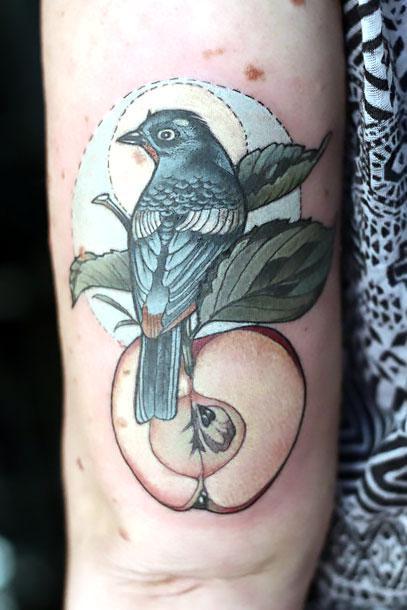 Blackbird on Apple Tattoo Idea
