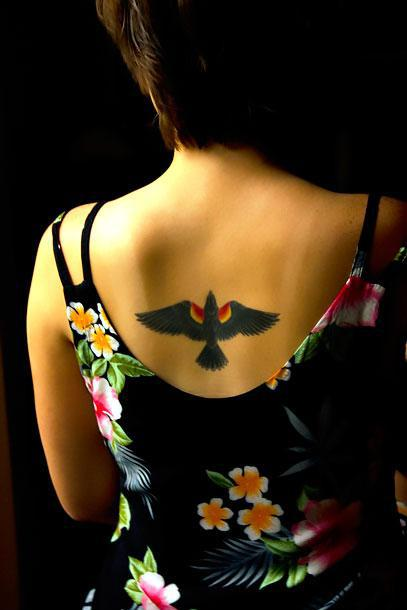 Blackbird on Back for Girls Tattoo Idea