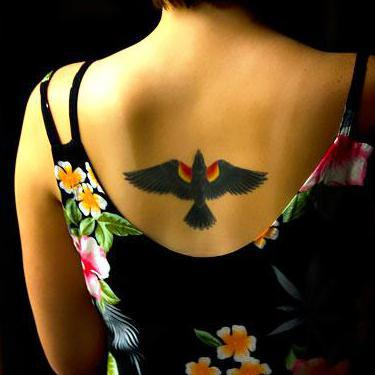 Blackbird on Back for Girls Tattoo