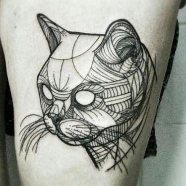 Best Geometric Cat Tattoo