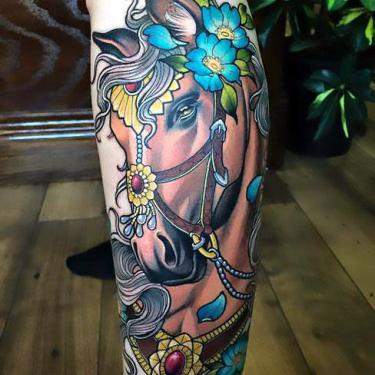 Beautiful Girly Horse Head Tattoo