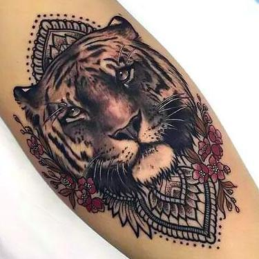 Beautiful Girly Tiger Mandala Tattoo