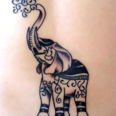 Beautiful Happy Elephant Tattoo
