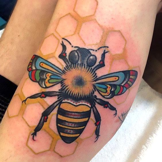 Beautiful Honey Bee Tattoo Idea