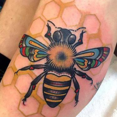 Beautiful Honey Bee Tattoo