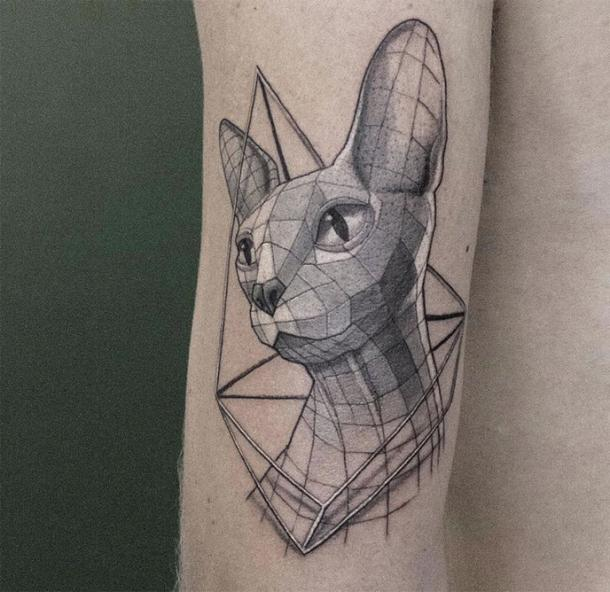 Geometric Sphynx Cat Tattoo Idea