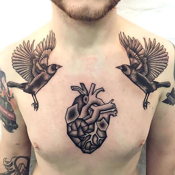 Blackbirds and Heart Tattoo Idea