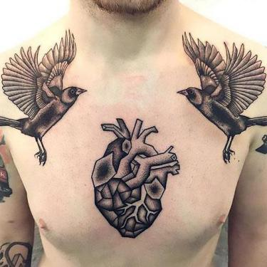 Blackbirds and Heart Tattoo