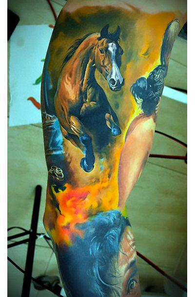 Beautiful Horse Sleeve Tattoo Idea
