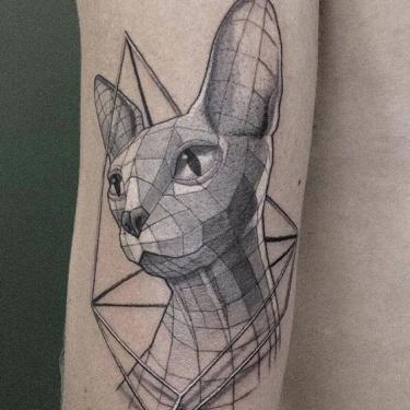 Geometric Sphynx Cat Tattoo