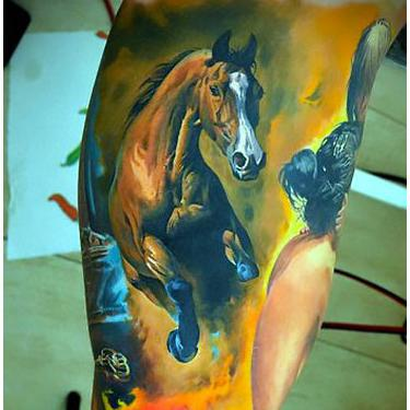 Beautiful Horse Sleeve Tattoo