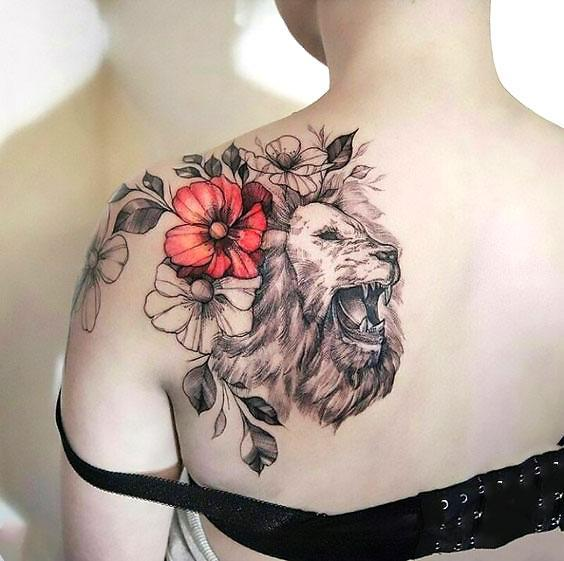 Beautiful Lion Shoulder With Colorful Flowers Tattoo Idea