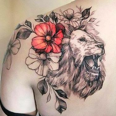 Beautiful Lion Shoulder With Colorful Flowers Tattoo