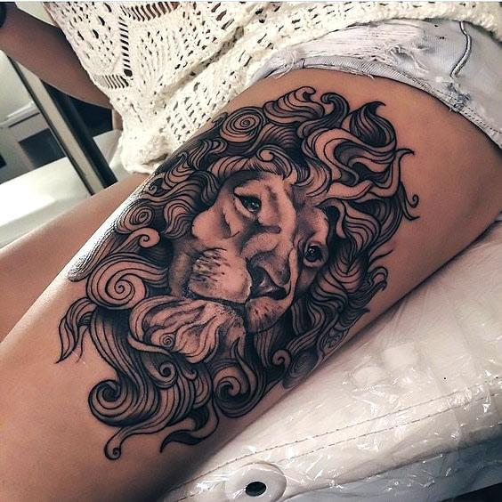 Beautiful Lion Thigh Tattoo Idea