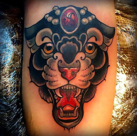 Beautiful Panther Flash Tattoo Idea