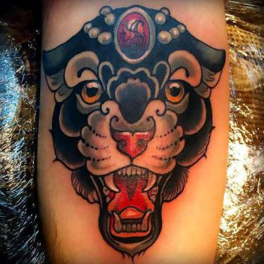 Beautiful Panther Flash Tattoo