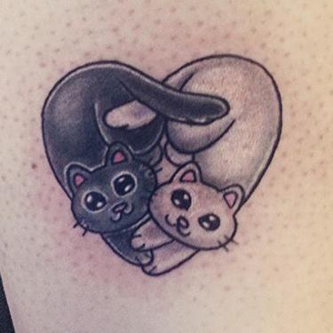 Heart-Shaped Cats Tattoo