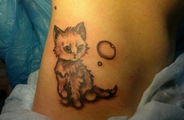 Cute Kitty and Bubble Tattoo Idea
