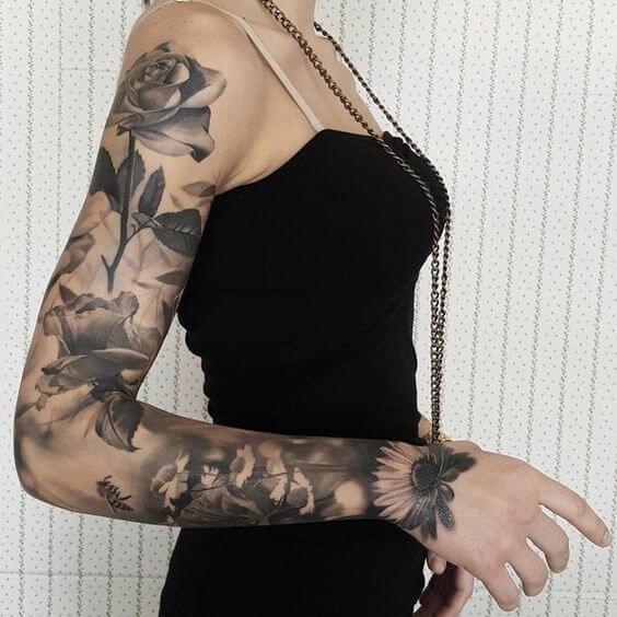 Delightful Flowers Sleeve Tattoo Tattoo Idea