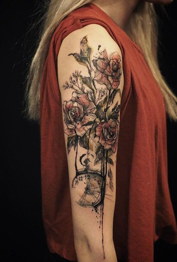 Bleeding Roses Sleeve Tattoo Tattoo Idea