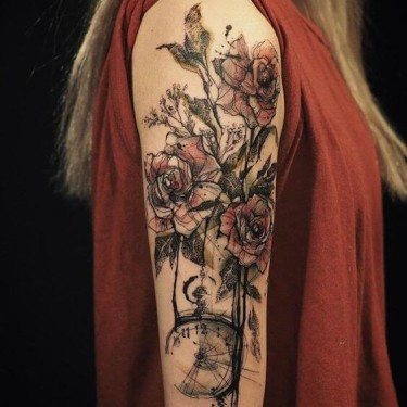 Bleeding Roses Sleeve Tattoo Tattoo