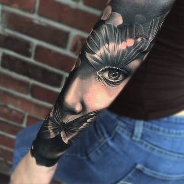 Attractive Sleeve Woman's Portrait Tattoo