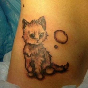 Cute Kitty and Bubble Tattoo
