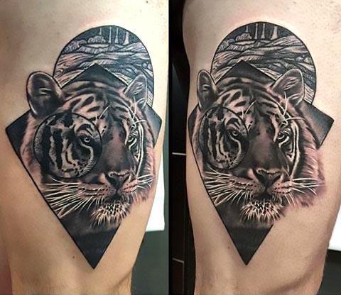 Beautiful Tiger Thigh Tattoo Idea